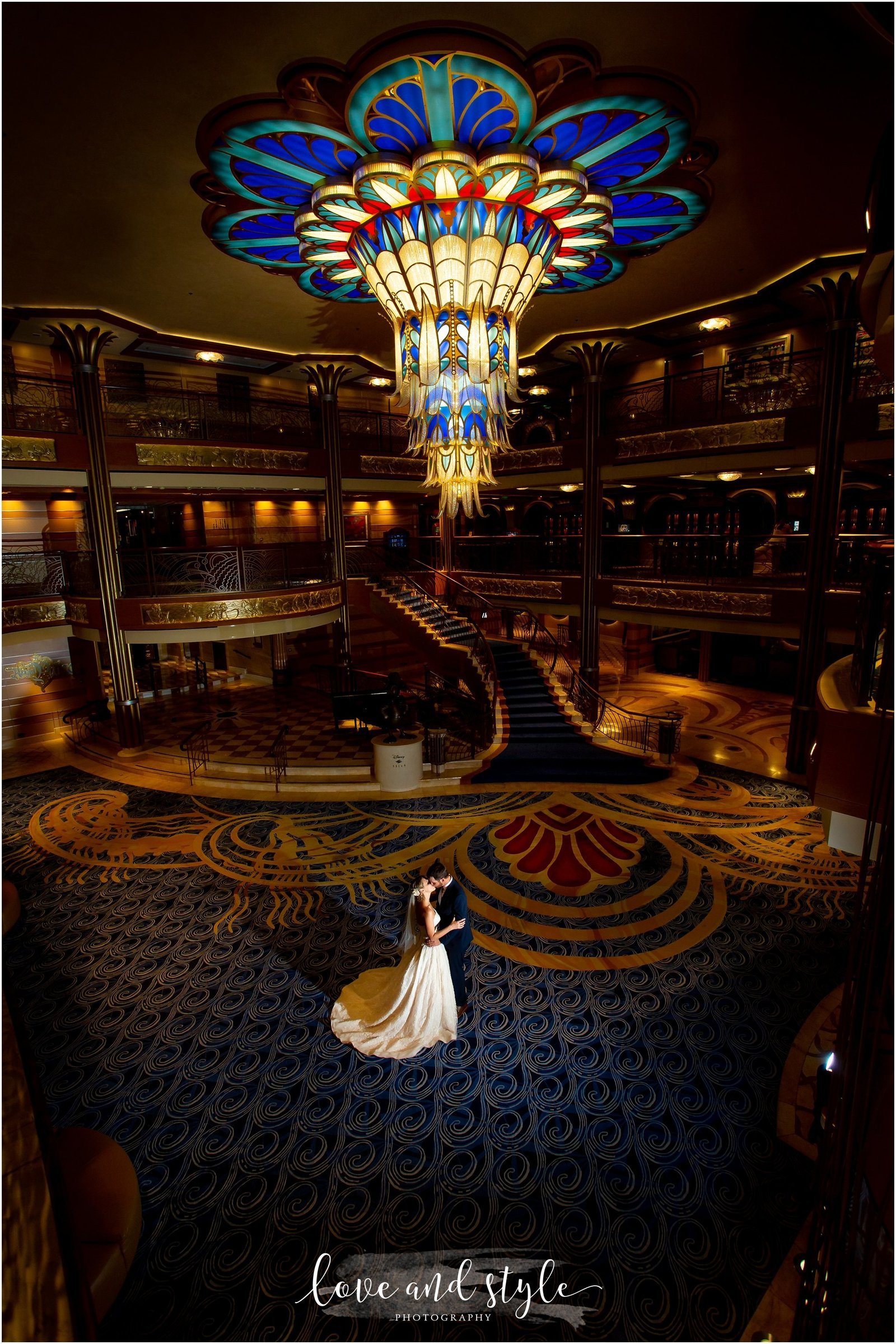 Disney Dream Cruise Wedding Photography bride and groom portrait in the atrium with backlight
