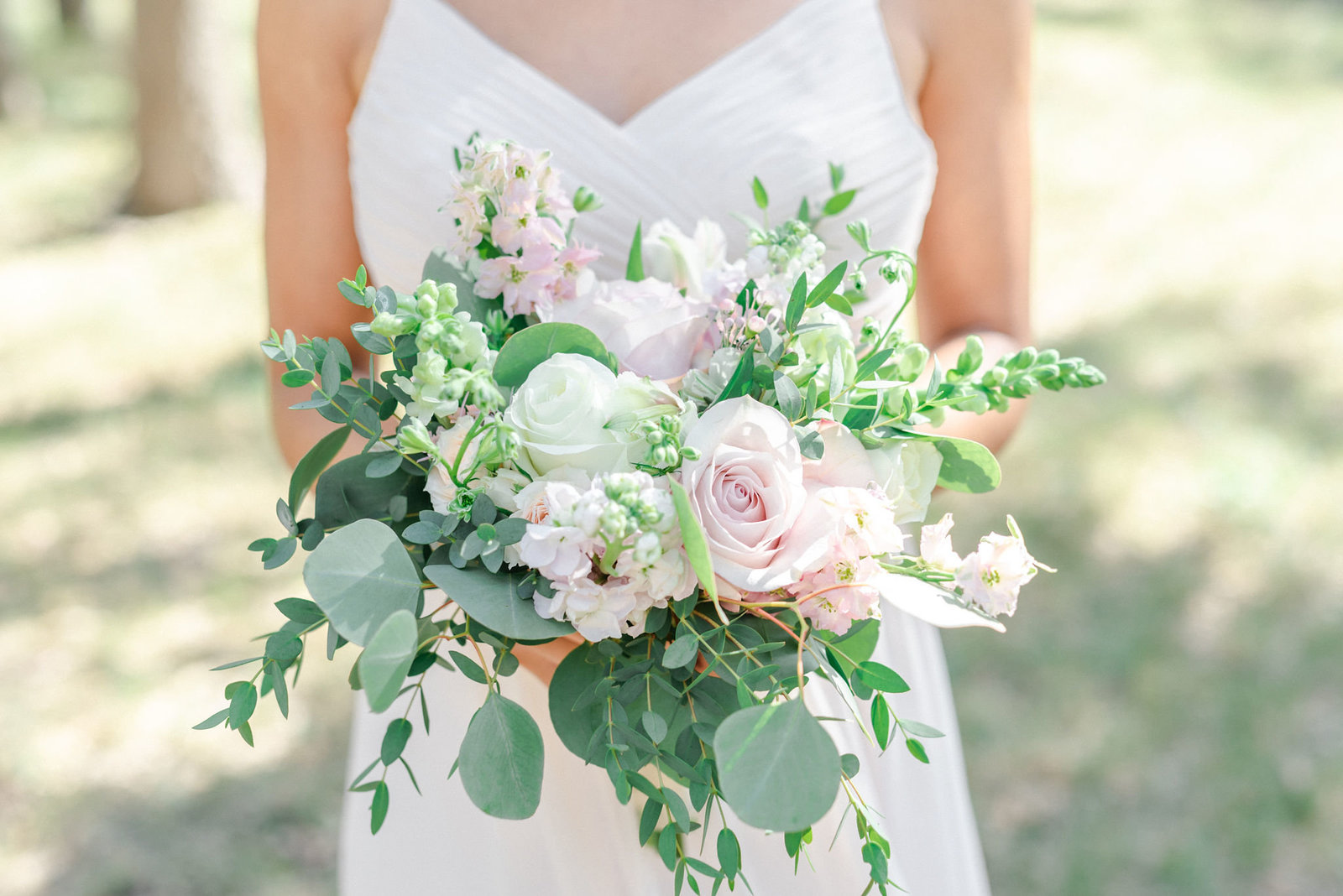 Blush and white unstructured bouquet
