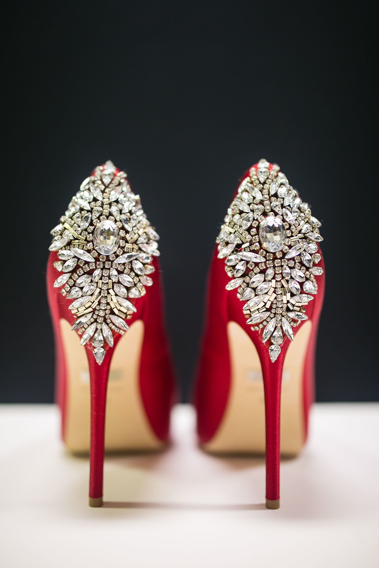 gemstone embellished red pump wedding heels St Louis Pinxit Photo
