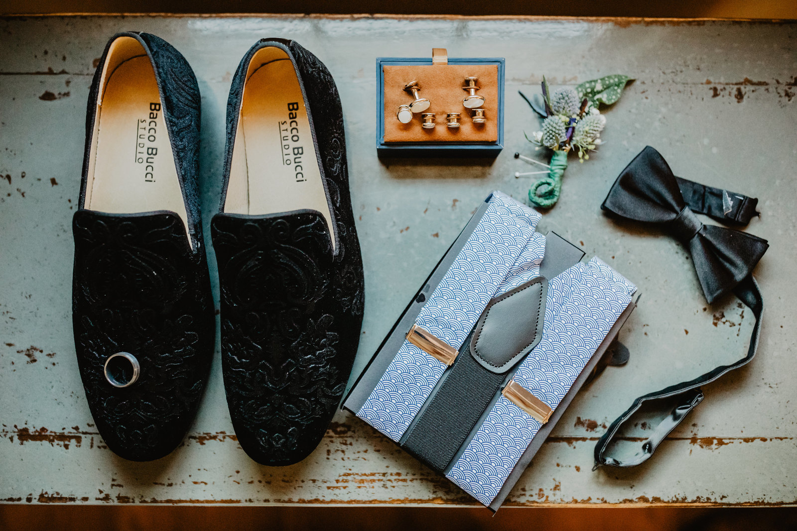 Groom details complete with brush felt shoes and bow tie for Colorado wedding