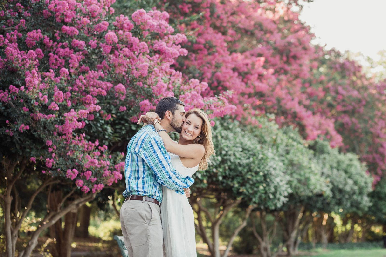 Engaged couple cuddle on path near blooming pink trees, Hampton Park, Charleston, South Carolina