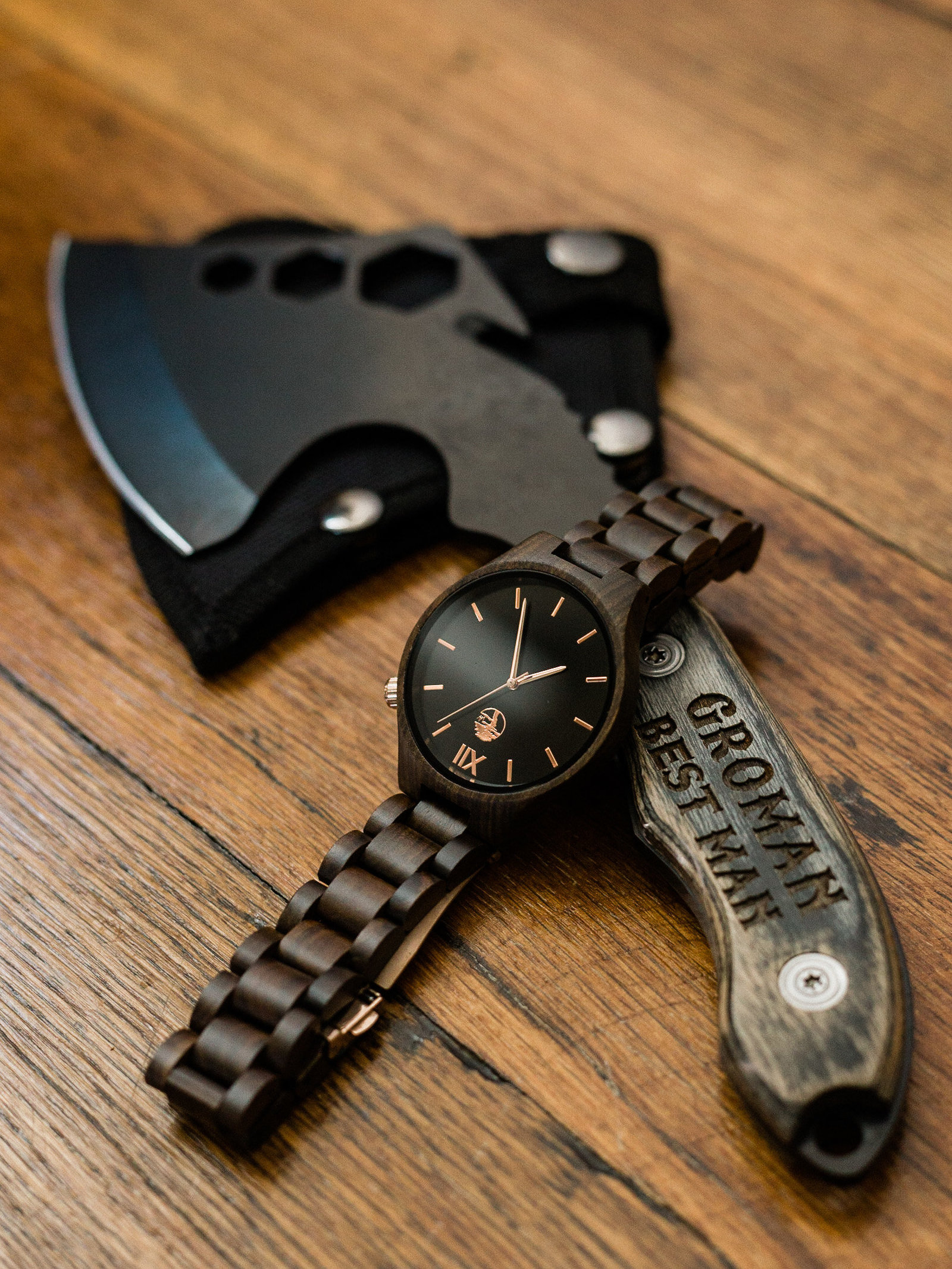 Groomsmen gifts, watch and customized ax
