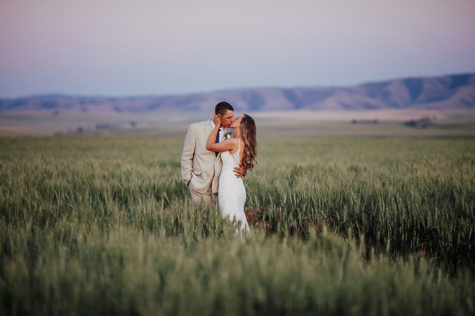 Wheat-Field-Bride-Groom-Western-Wedding