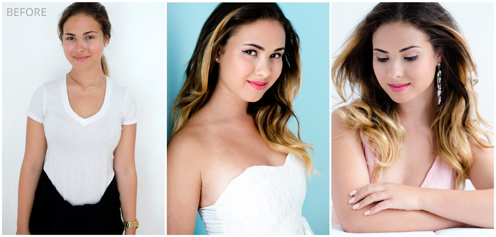 your woman makeover headshots, glamour and  beauty combination blong highlights in long hair with beautiful smile . wearing white tee shirt  and  white  dress