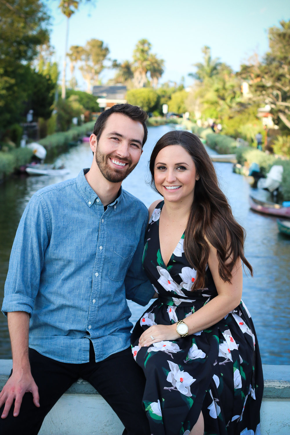 Engagement photos for couple at Venice Canals