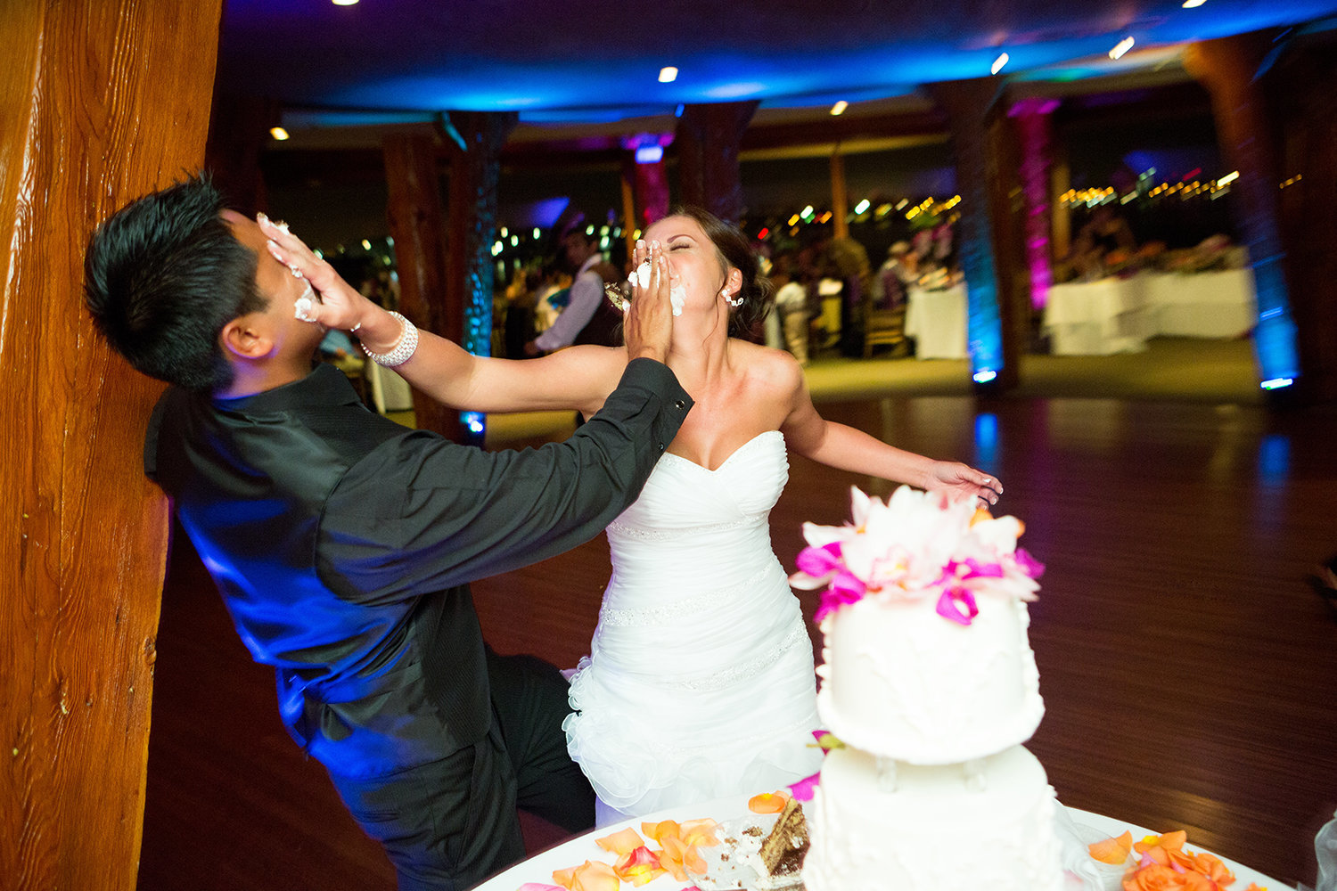 Bali Hai wedding photos fun cake smash