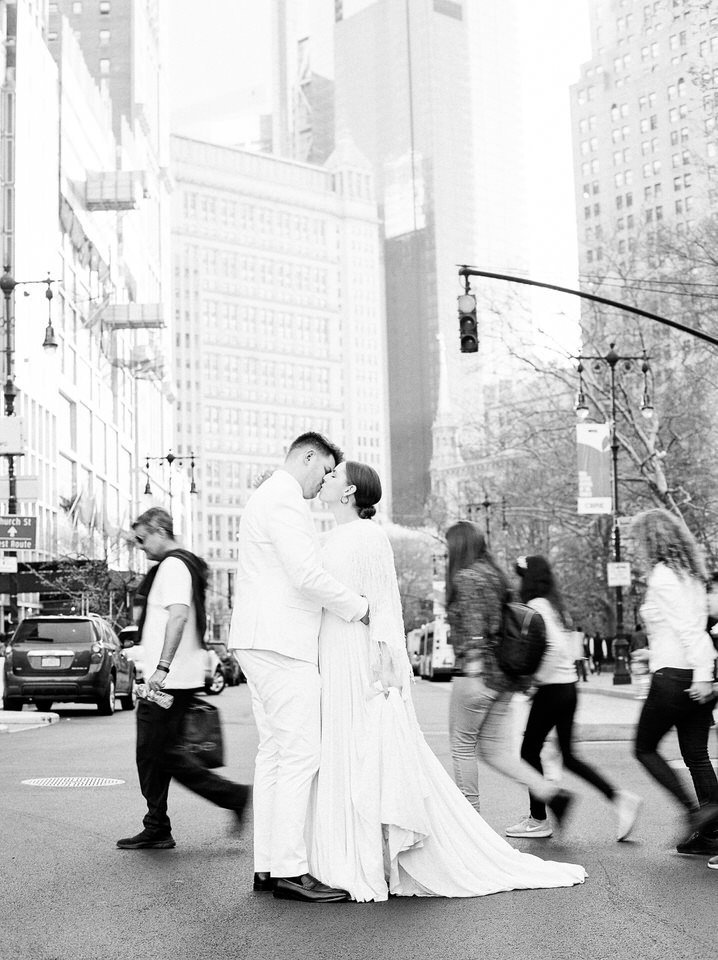 black and white nyc wedding photo