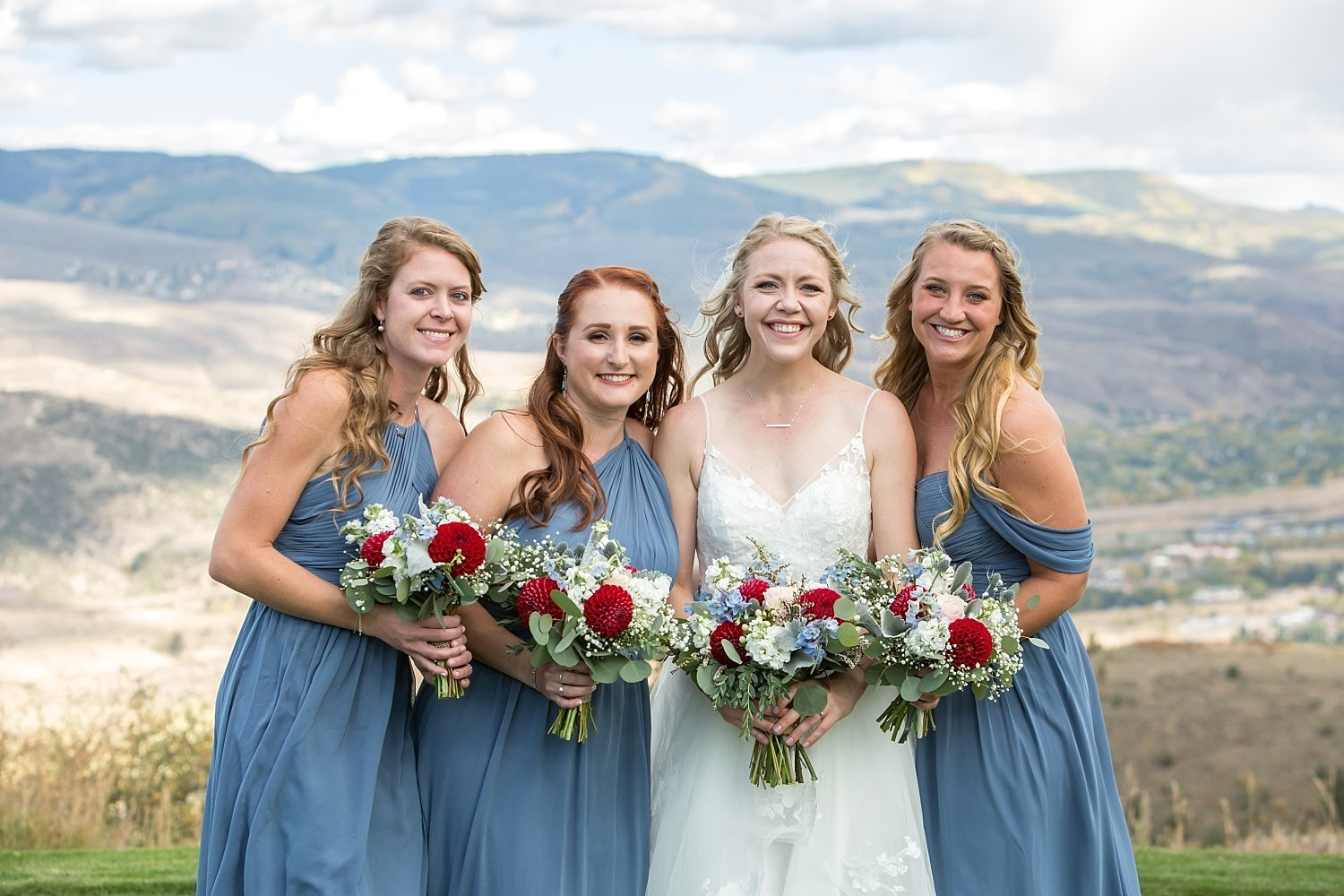 bridesmaids portrait in the mountains