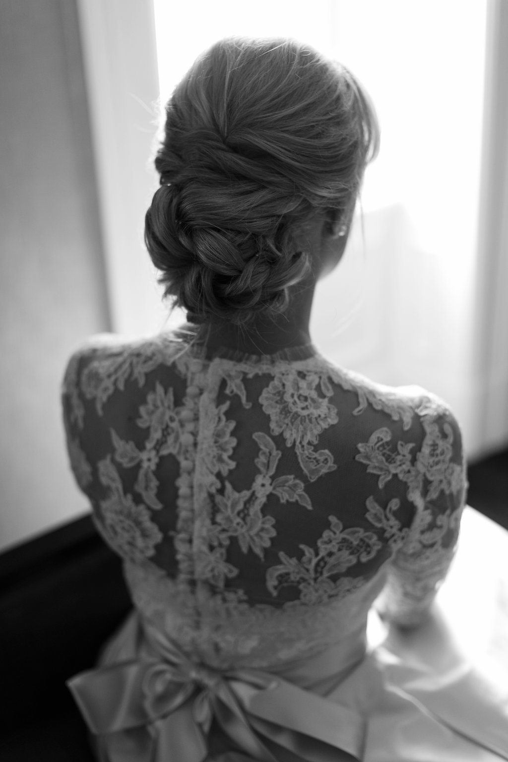 Kleinfeld bridal gown getting ready bridal portait at Hyatt at the Bellevue photo by Girl Photography