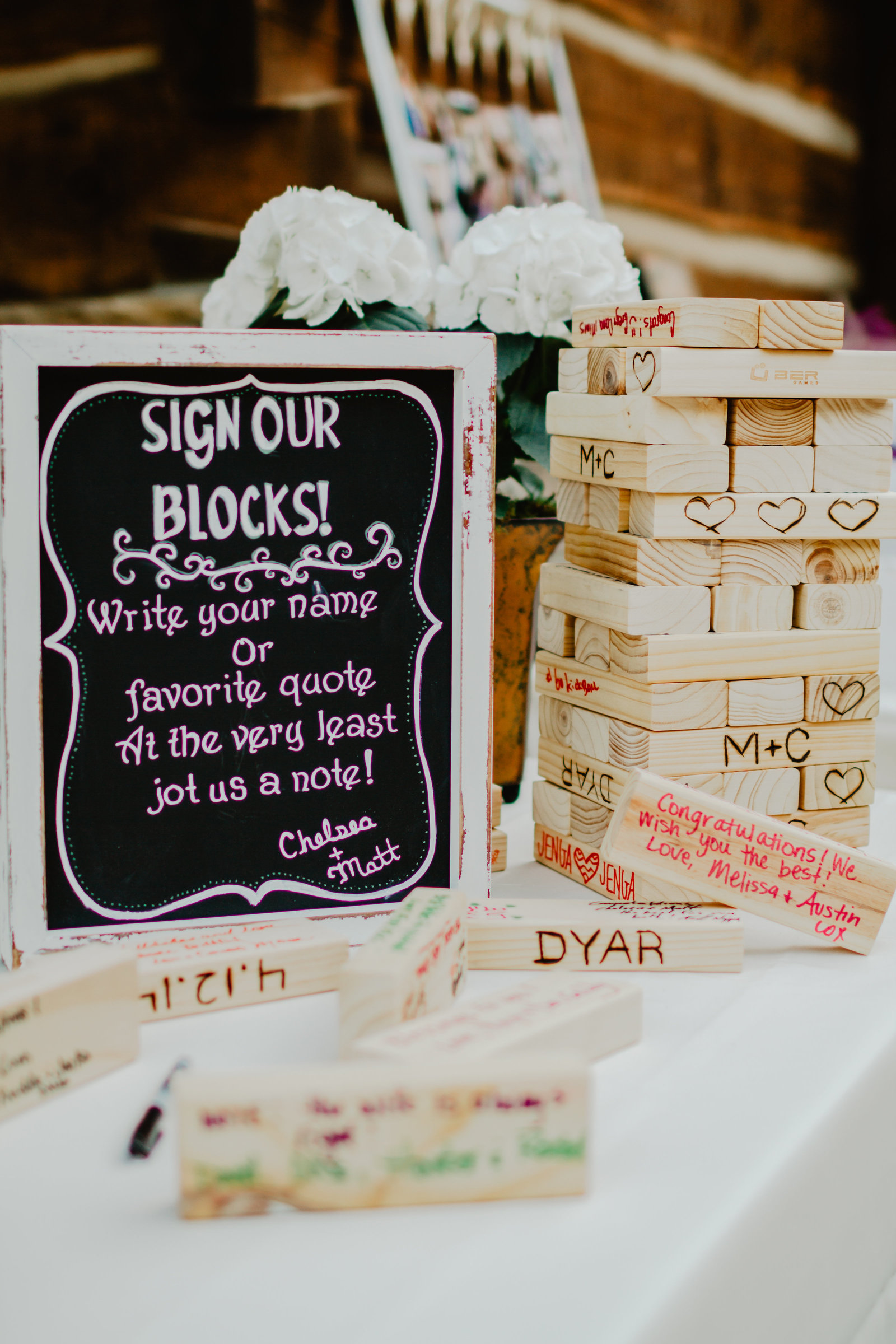 Unique guest book using blocks to make an epic game of jenga