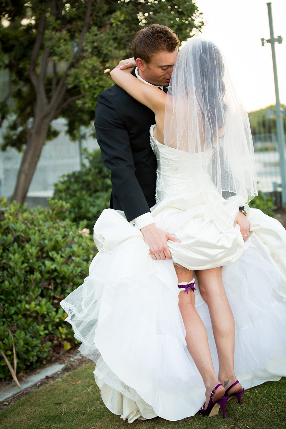 cute couple bride with purple shoes
