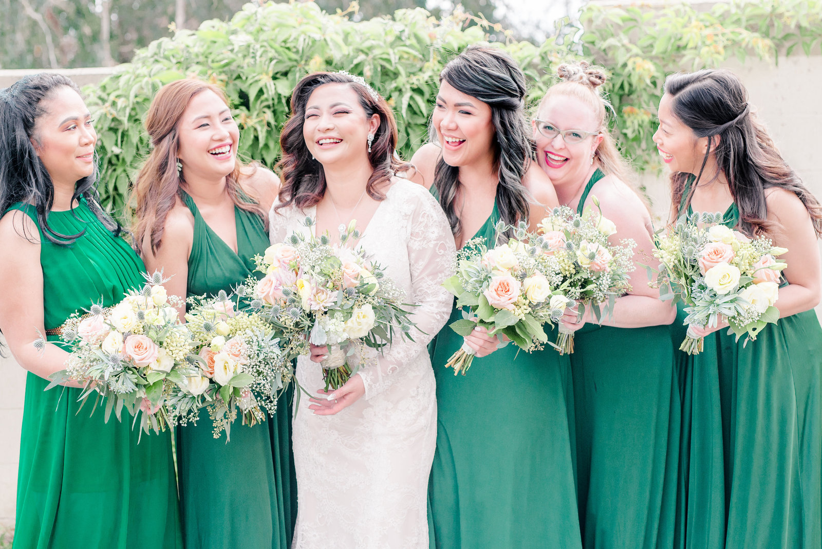 Bridal Party with emerald green dress Costa Mesa Wedding