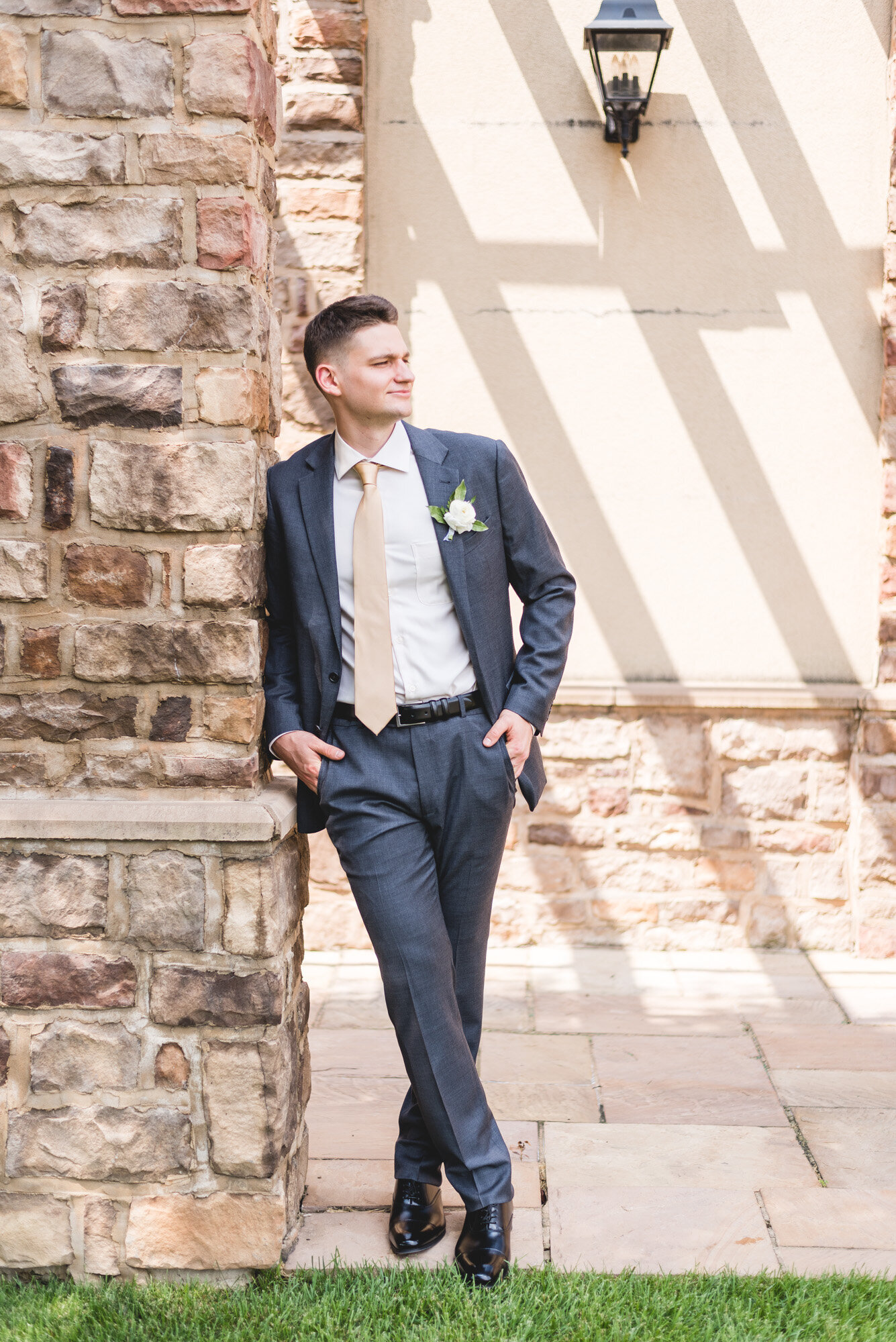 groom styled for portrait on wedding day at pinnacle grove city photographer