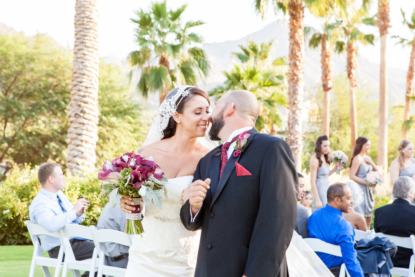 Indian Wells Bride and Groom Ceremony kiss