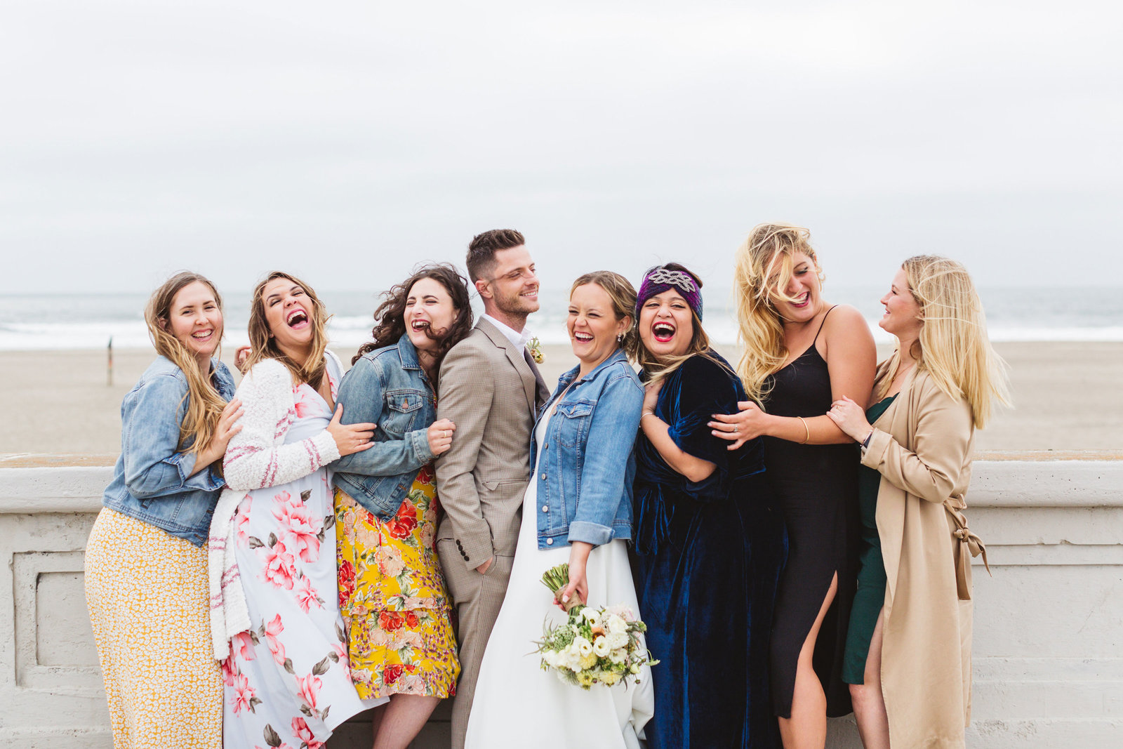 ocean beach wedding party photos