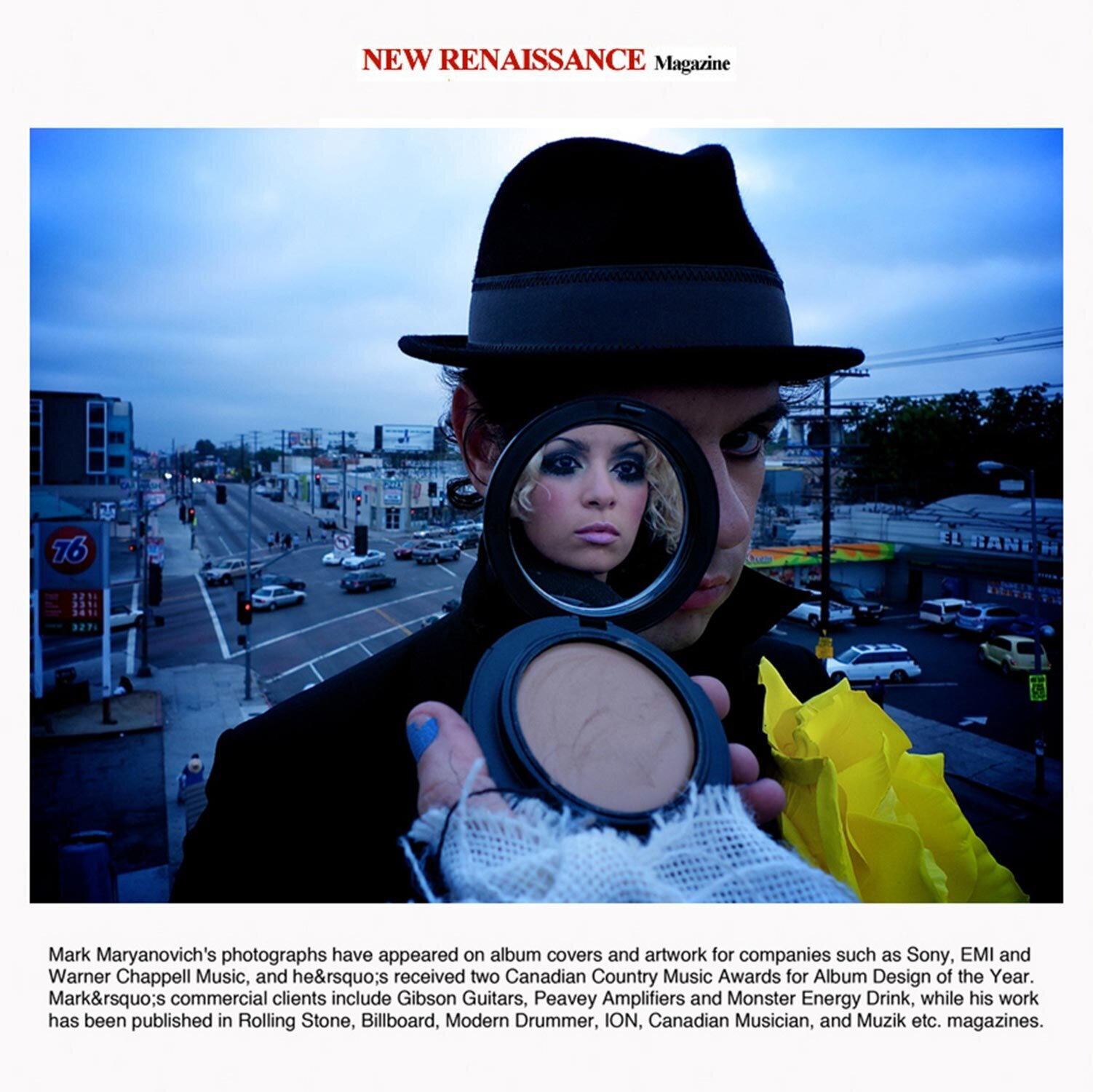 Magazine article featuring Los Angeles based Mark Maryanovich Photography music duo portrait male member standing on rooftop wearing hat makeup contact in front of one eye face of female member in mirror Publication New Renaissance page 2