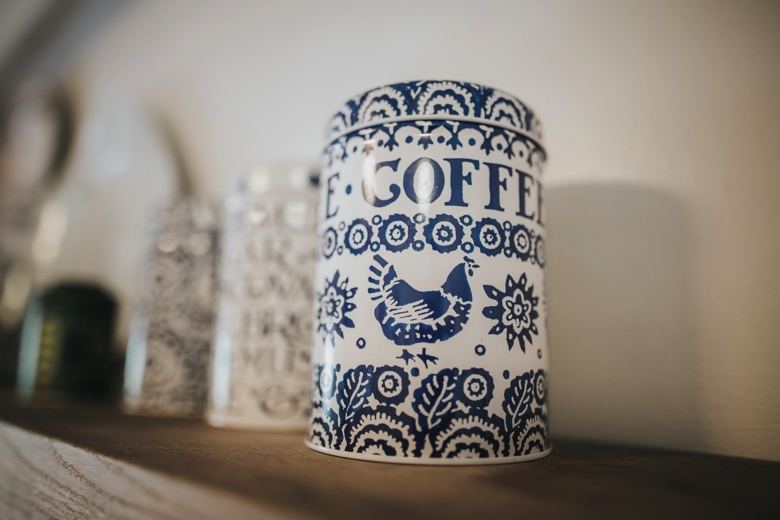 Coffee, Tea and sugar canisters at Baldry's Cottage - Holiday Accomodation in The Lake District