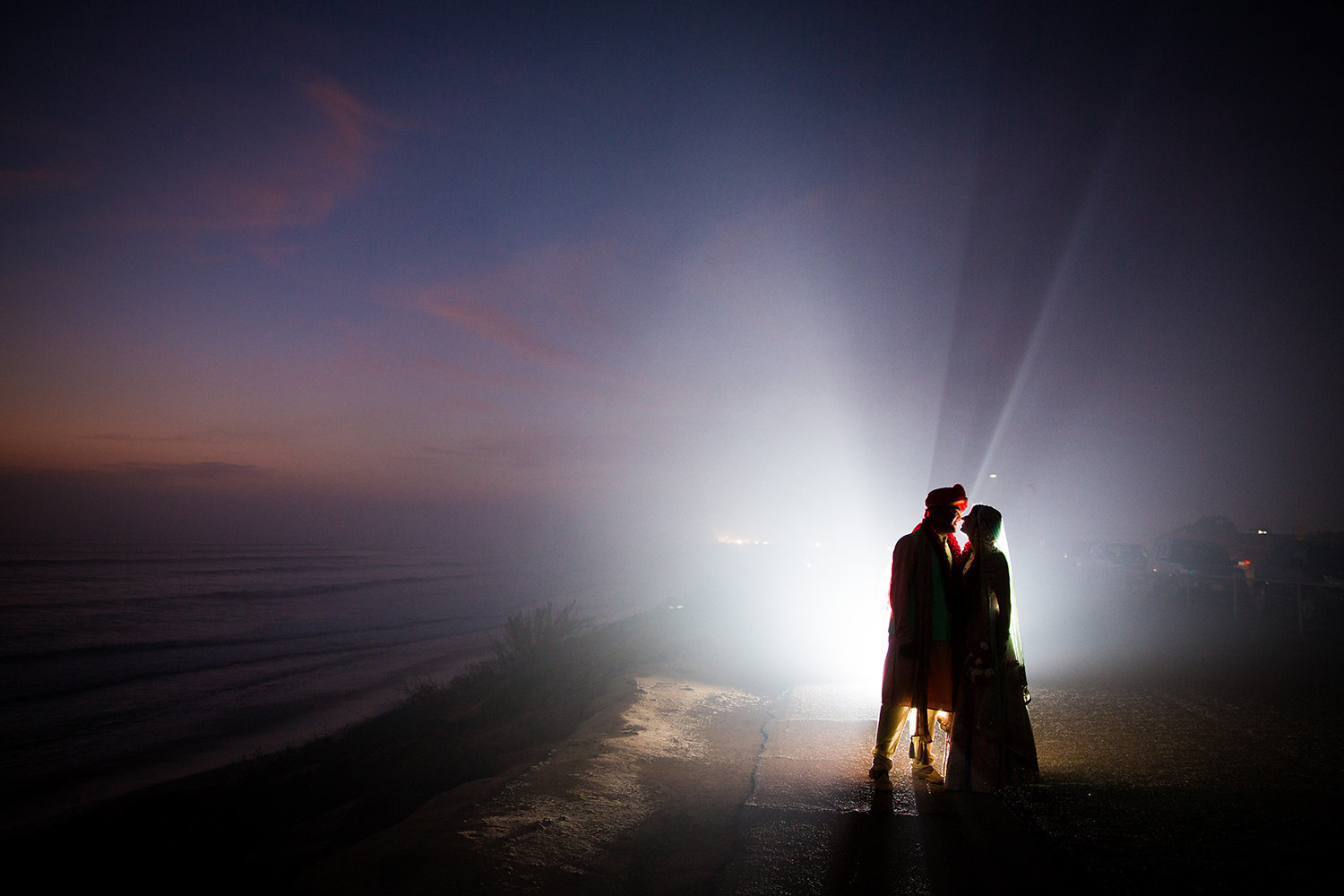 Dramatic Sunset Flash Portrait at a Hindu Wedding