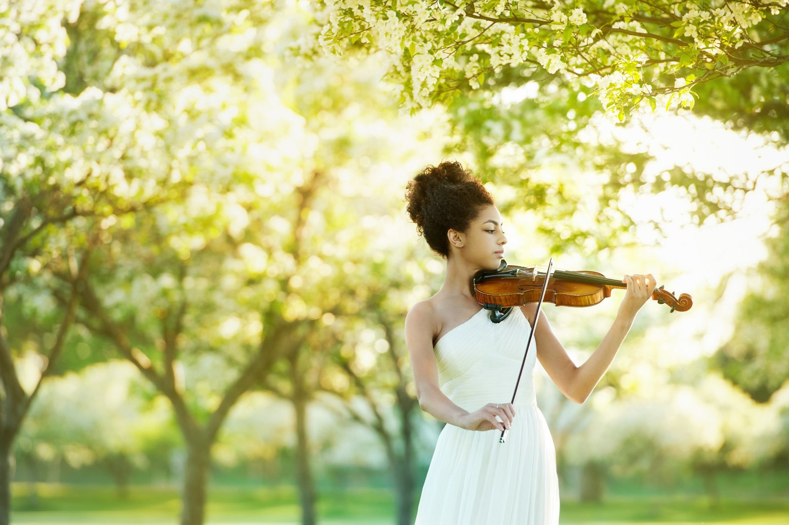 African American senior girl playing violin with blossoming trees behind her at sunset