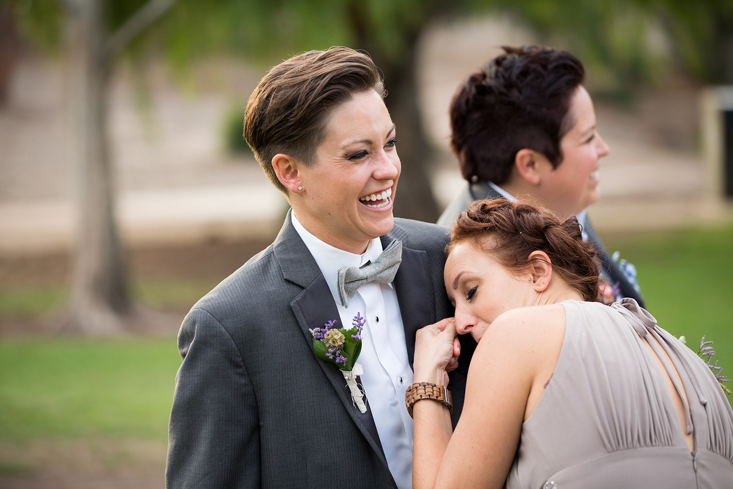 The emotions were high at this beautiful outdoor wedding | LGBT Wedding Ceremony