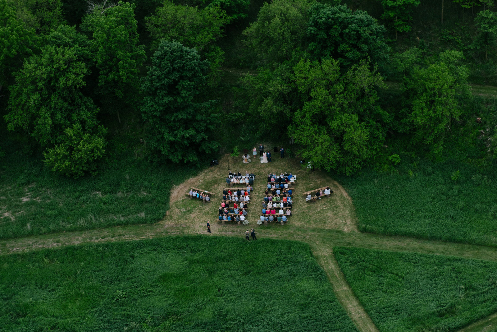 arial photo of wedding