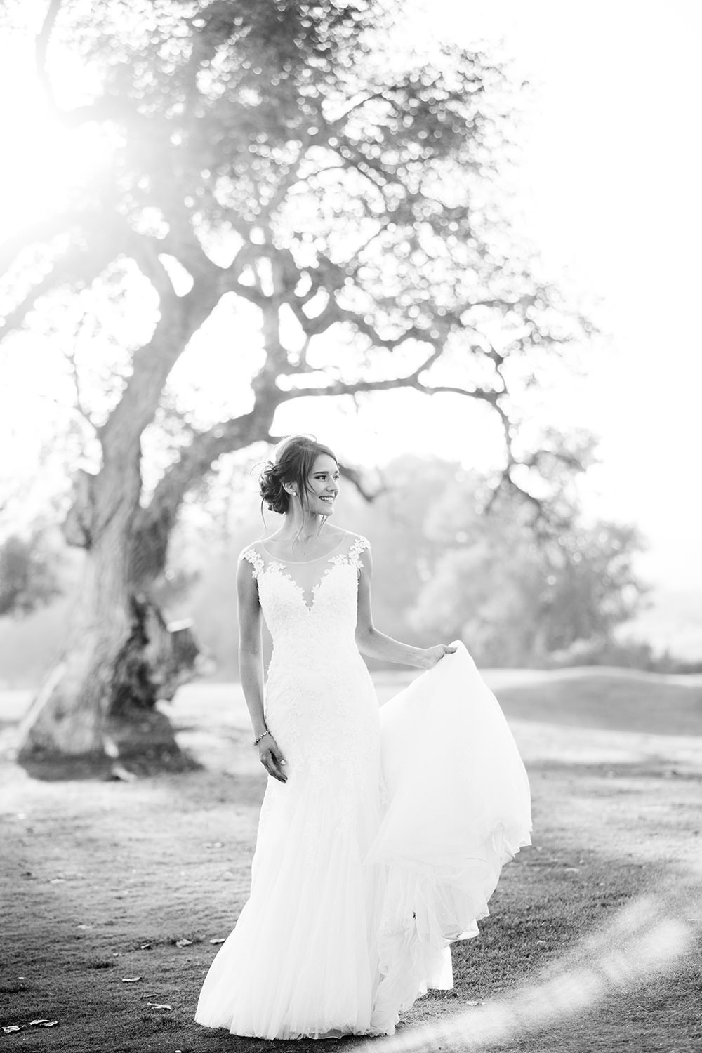 stunning bride image at carlton oaks country club black and white