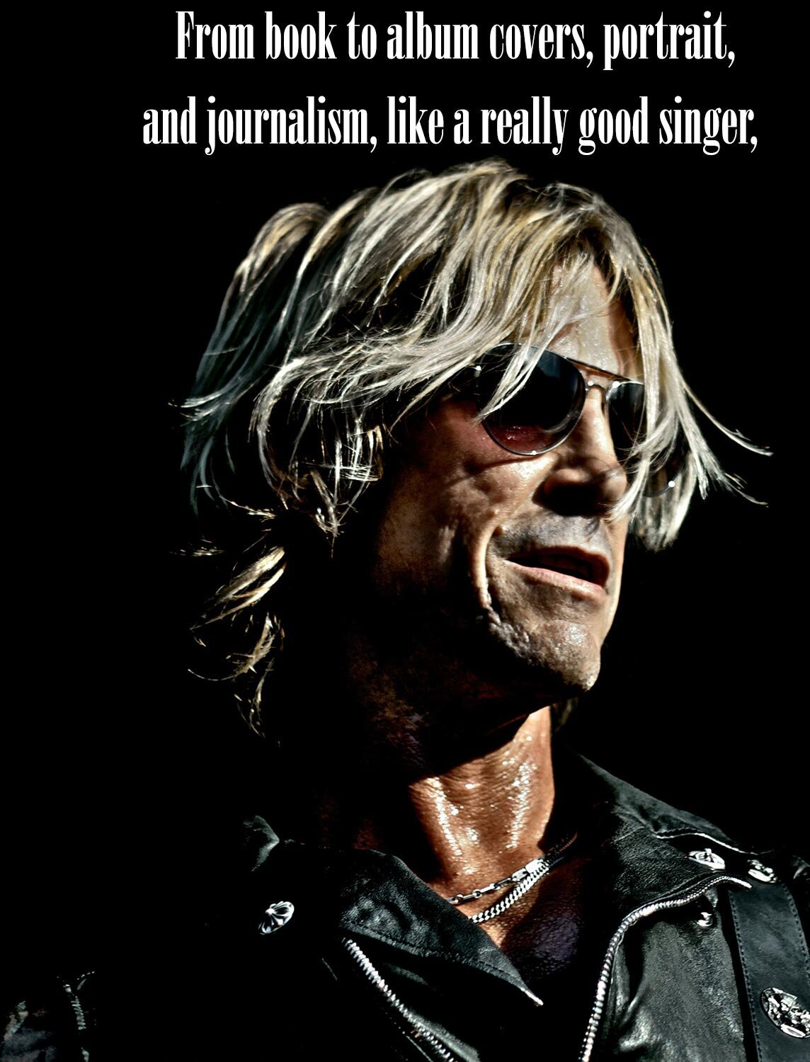 Duff McKagan photo featured in The Hollywood Dog article about Mark Maryanovich Photography closeup Guns N Roses bassist wearing black leather vest and sunglasses page 7