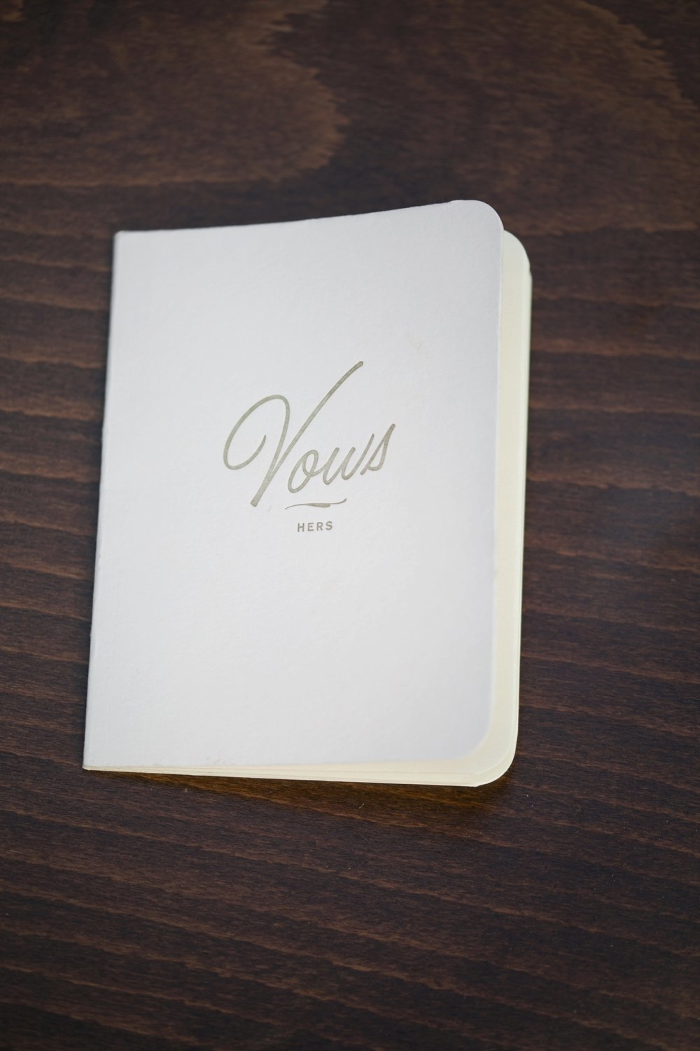 This wedding ceremony vow booklet held the vows for Vanessa & Lauren's same sex destination wedding.