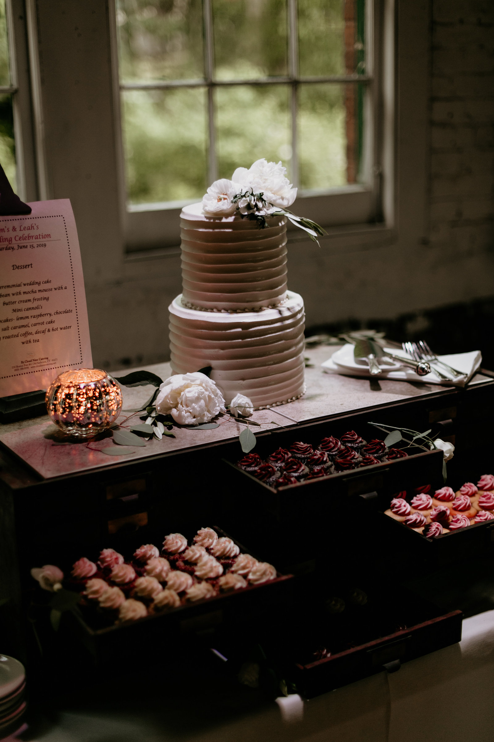 Wedding cake and dessert table.