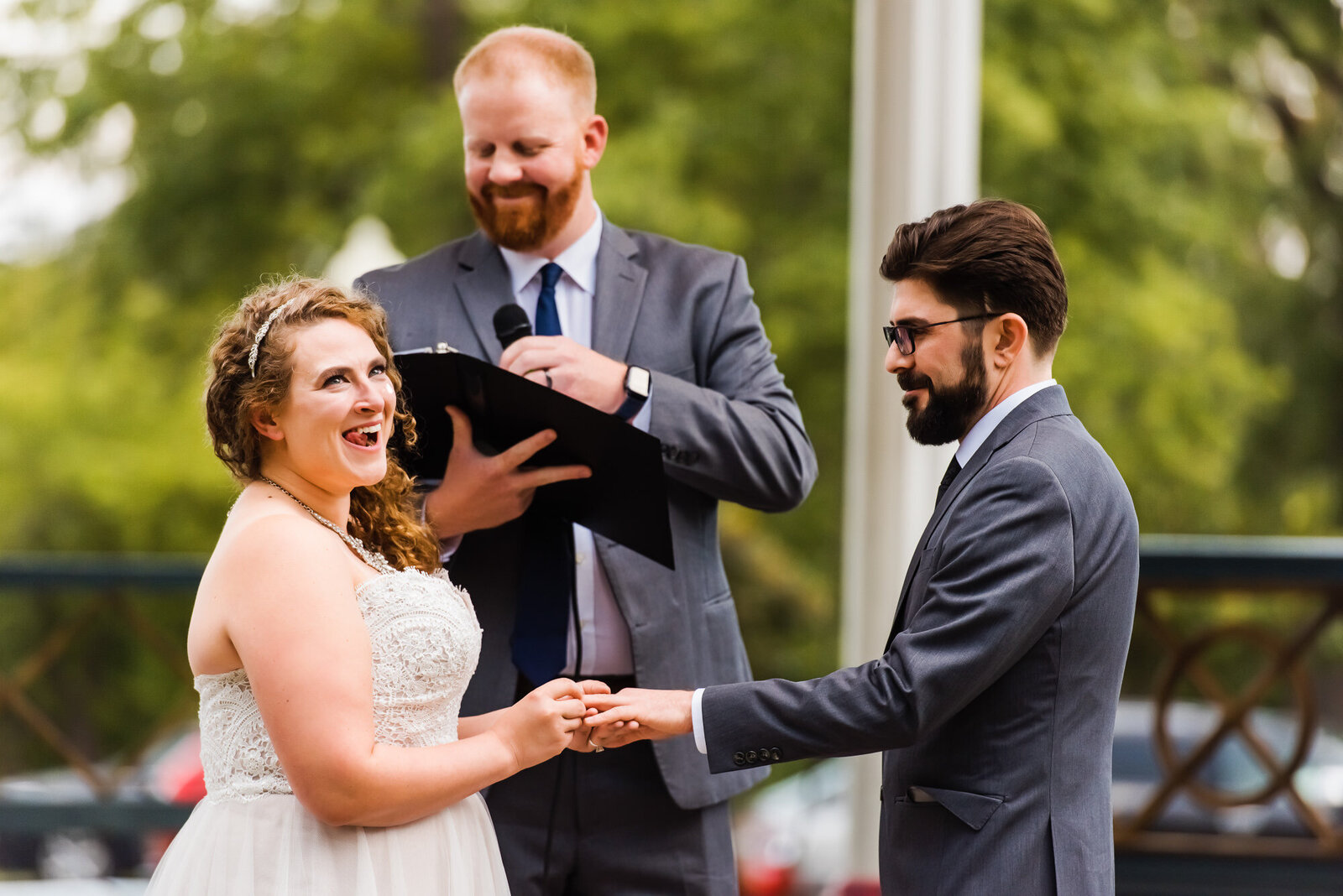 Candid moment during Tower Grove Park wedding ceremony in St. Louis