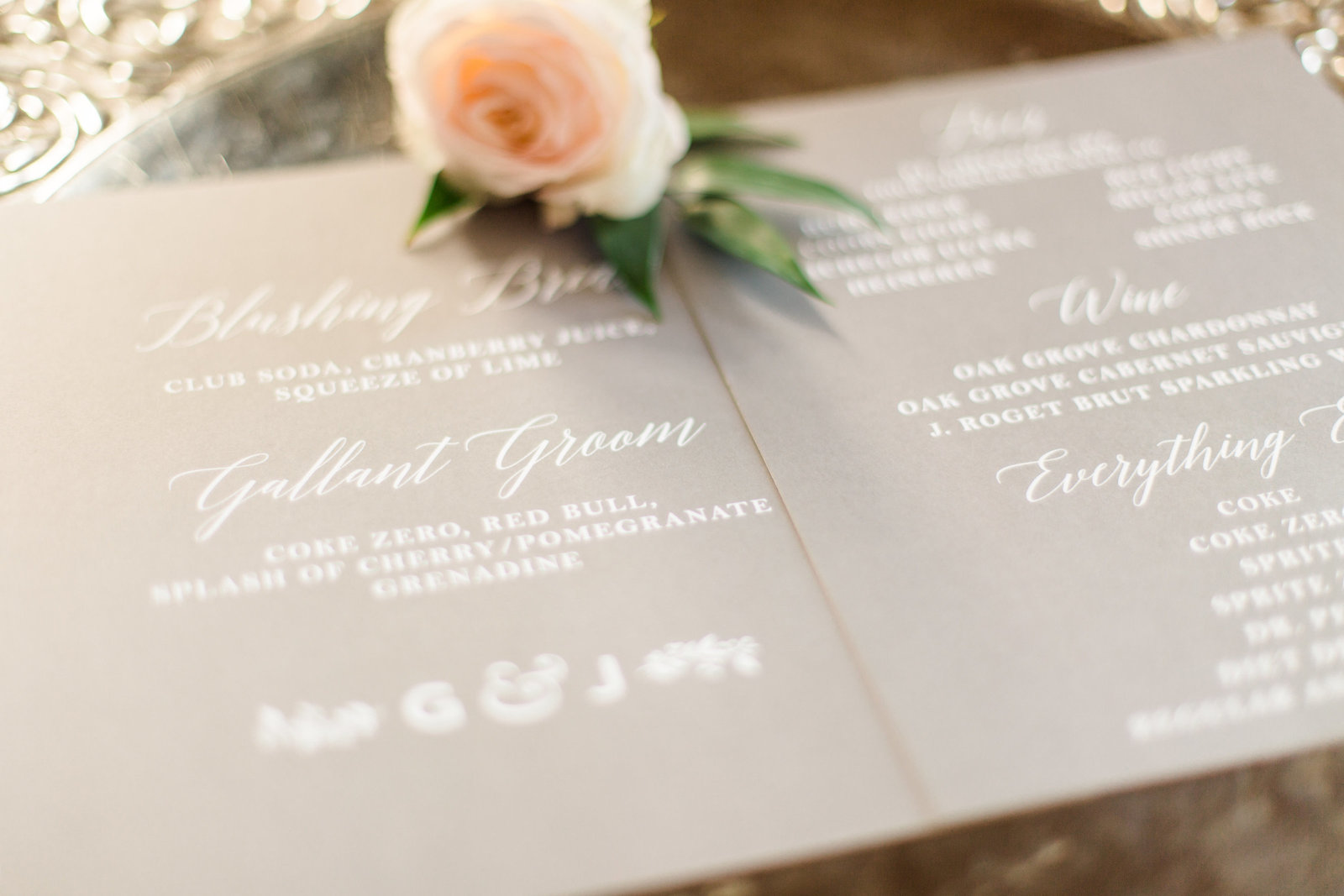 grey wedding suite with white calligraphy and peach rose