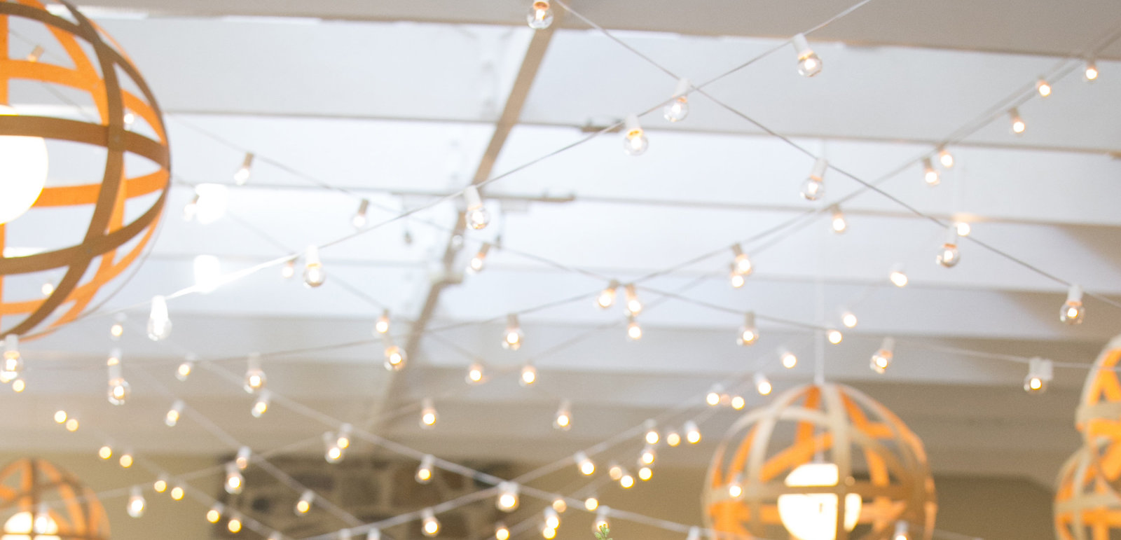 hanging lights at Pomme wedding in Radnor PA