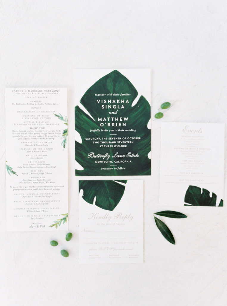 Modern monstera leaf wedding invitation suite for a wedding at Butterfly Lane Estate in Montecito