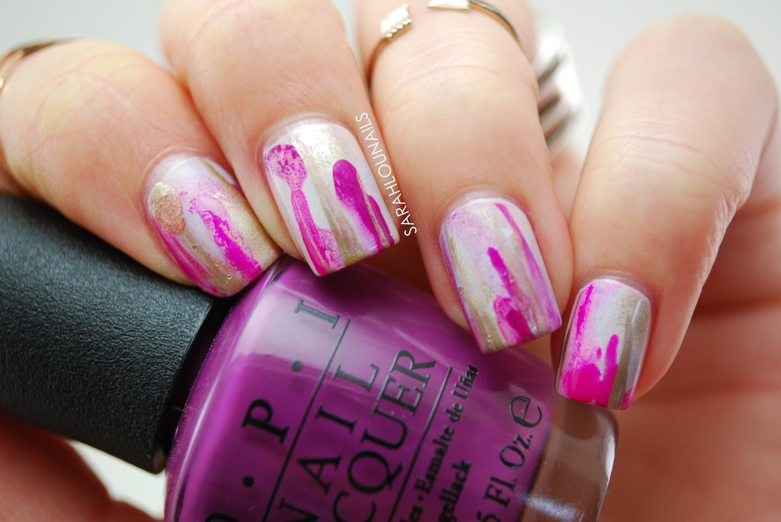 Purple Abstract Drip Nails 4