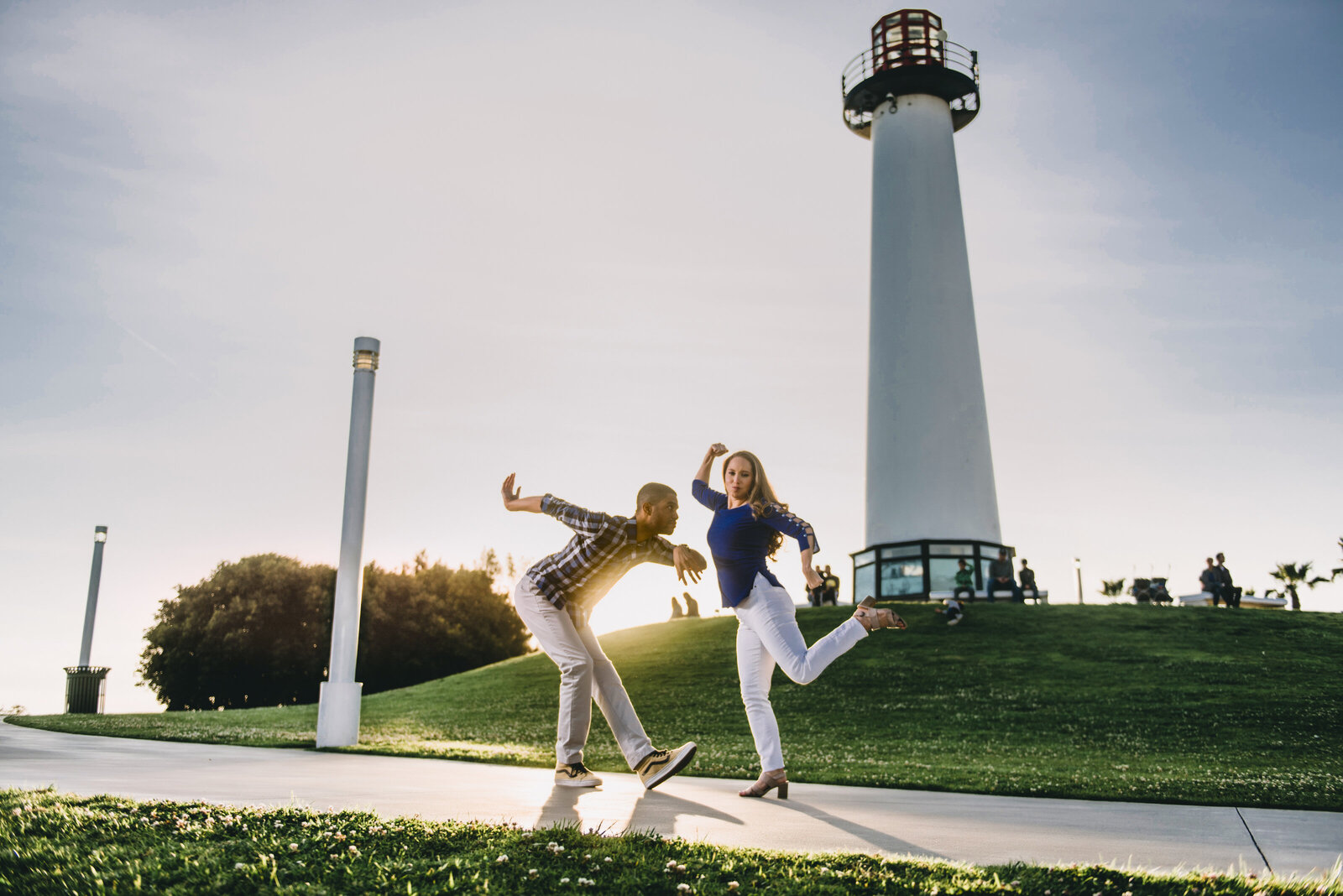 long beach lighthouse engagement photography