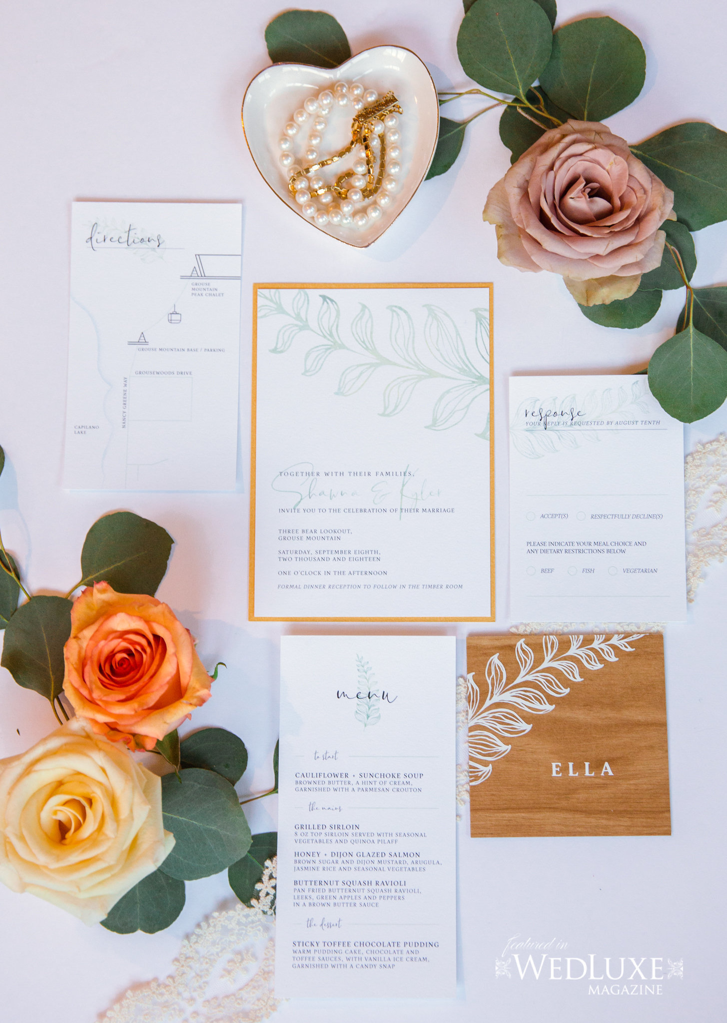 Styled Wedluxe Magazine Rustic Retreat invitations flat lay