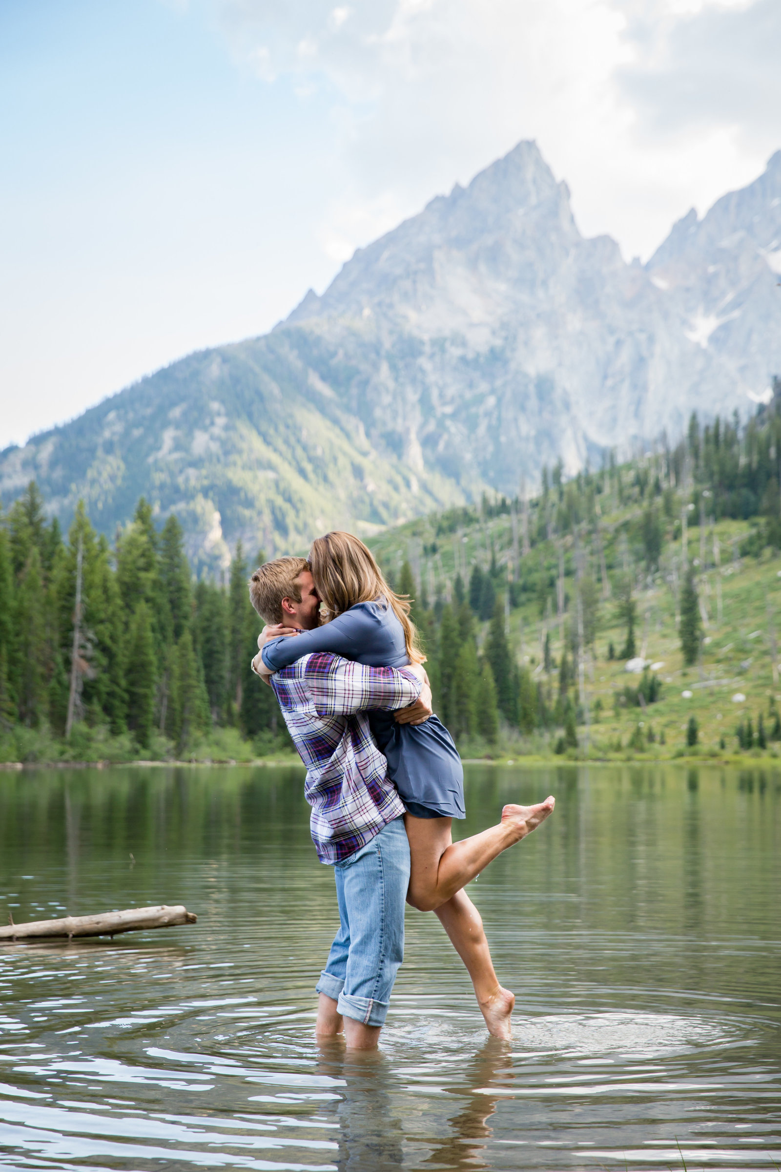 Leigh lake engagement session in Grand Teton National Park