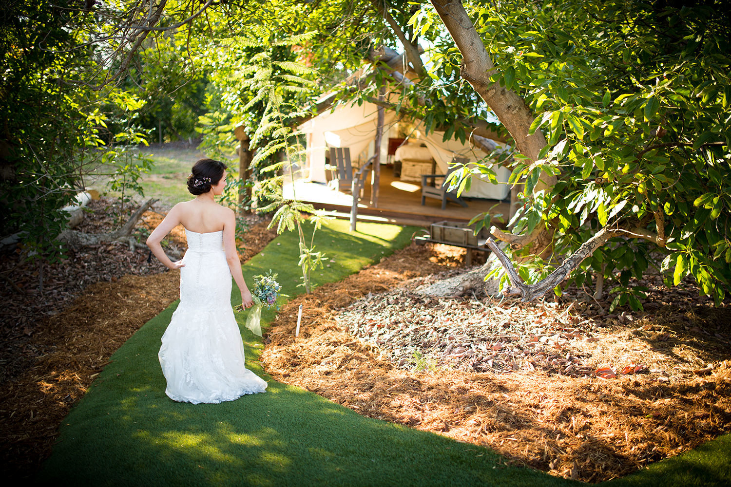 rustic camping with bride