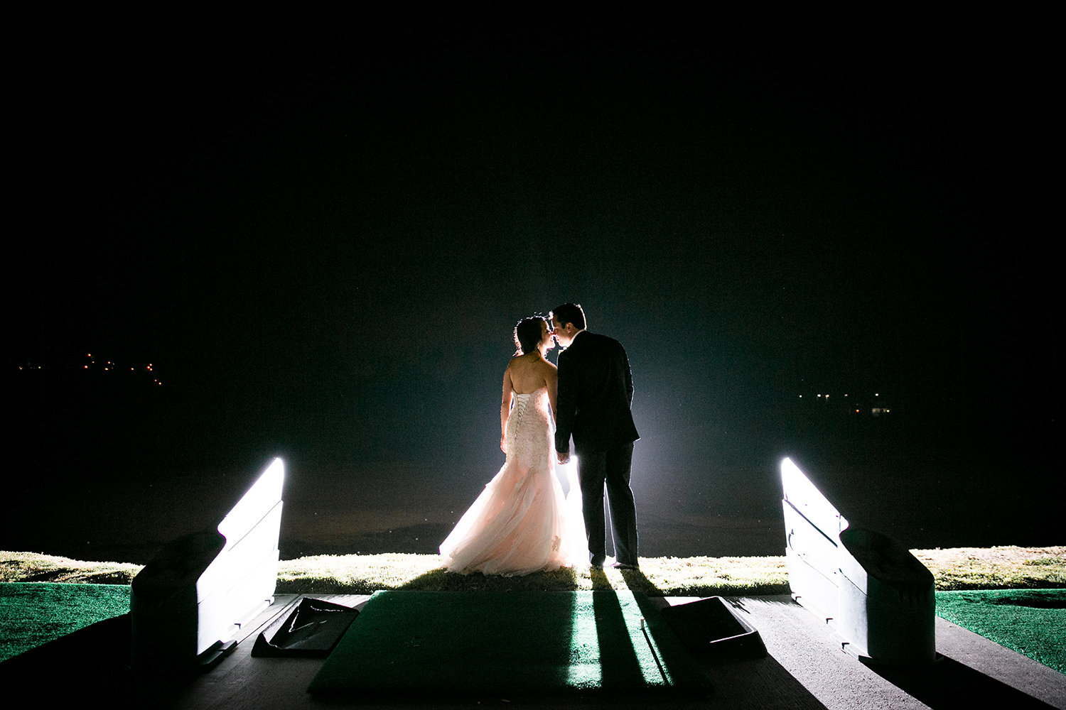bride and groom at the beautiful wedgewood night photo