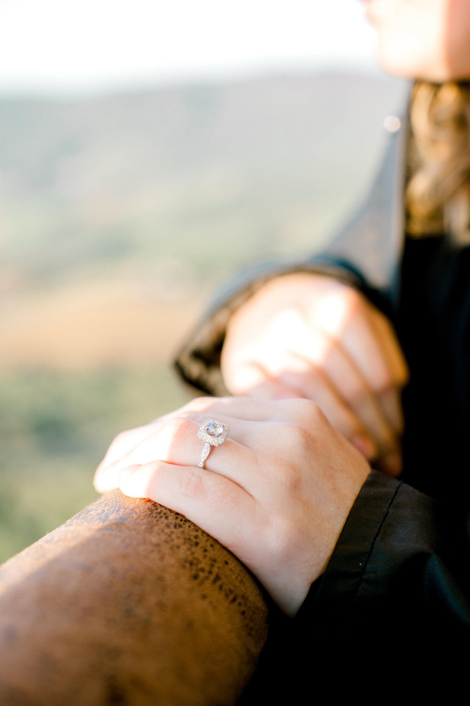 Hot air balloon proposal ring shot