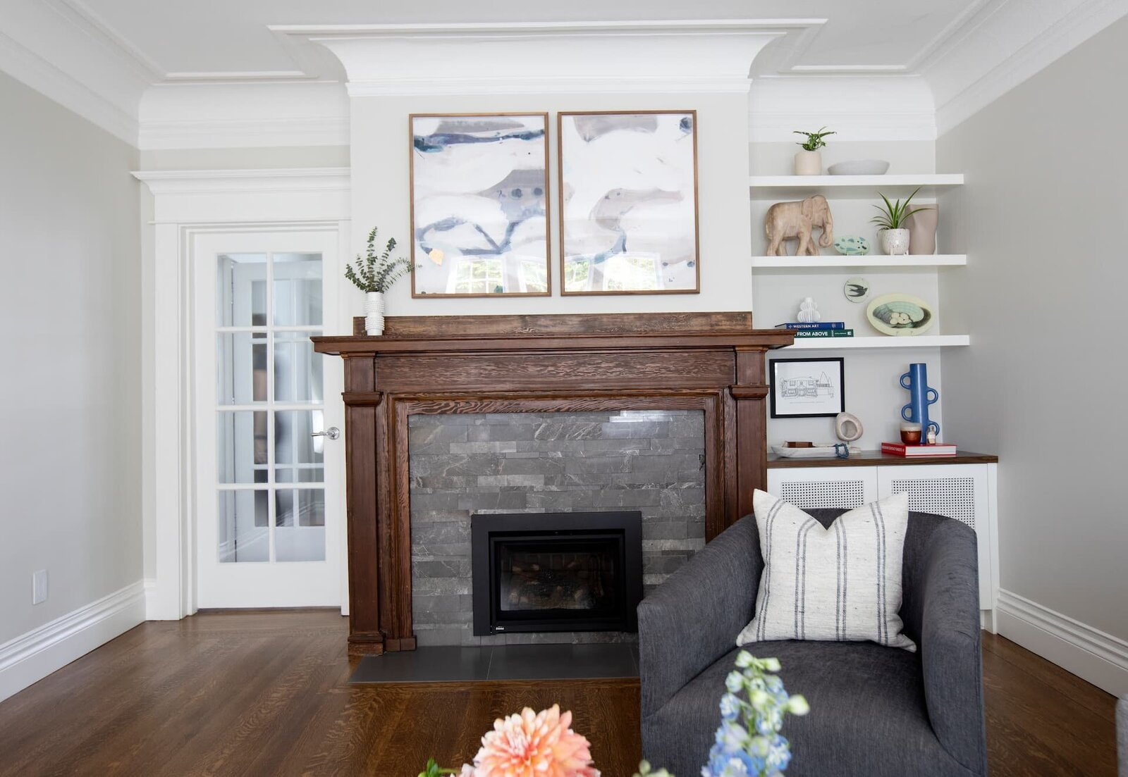 Granville Street l Living Room l Diptych Art over Fireplace with Custom Built-in