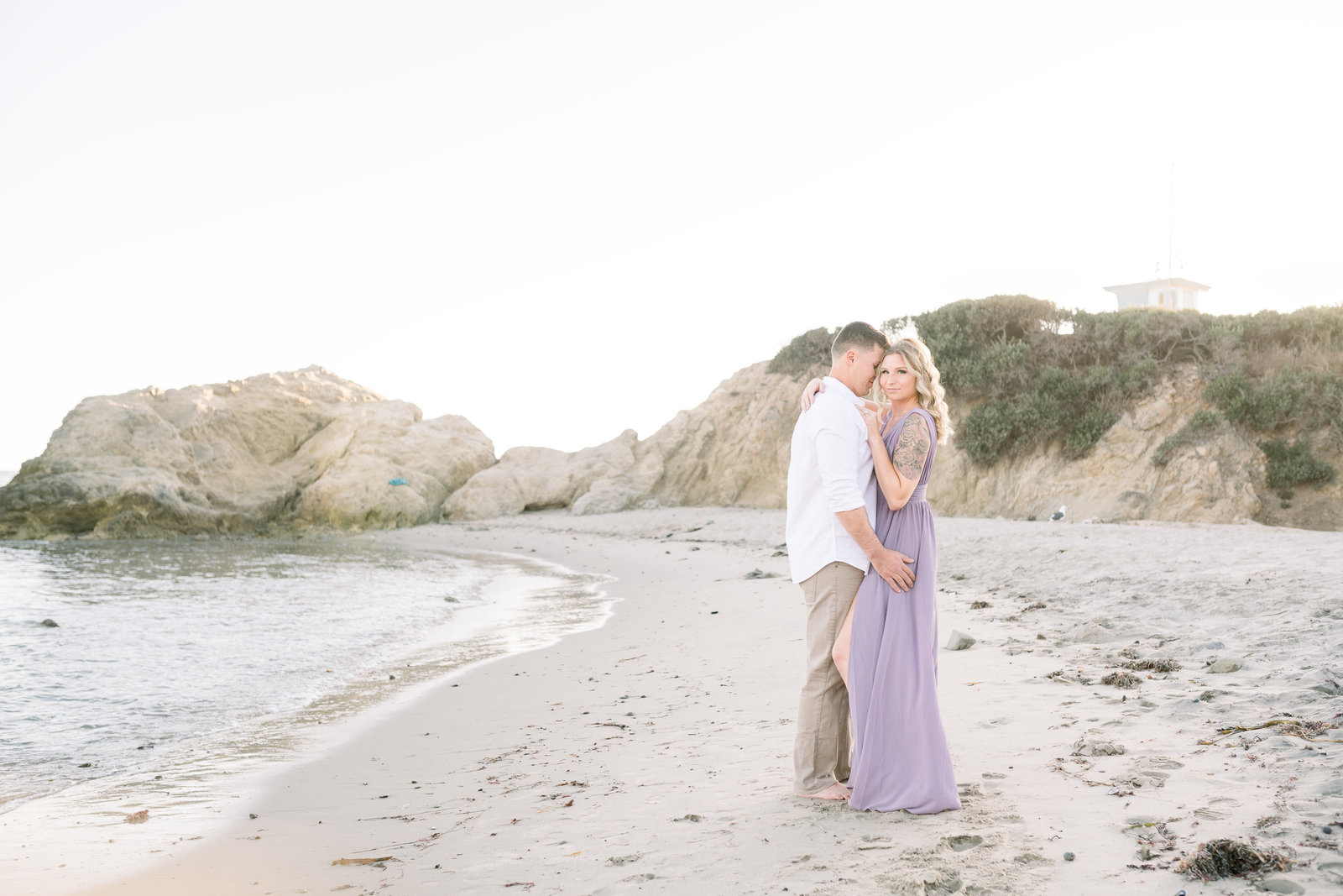 Malibu engagement session at sunset at Leo Carillo State Park