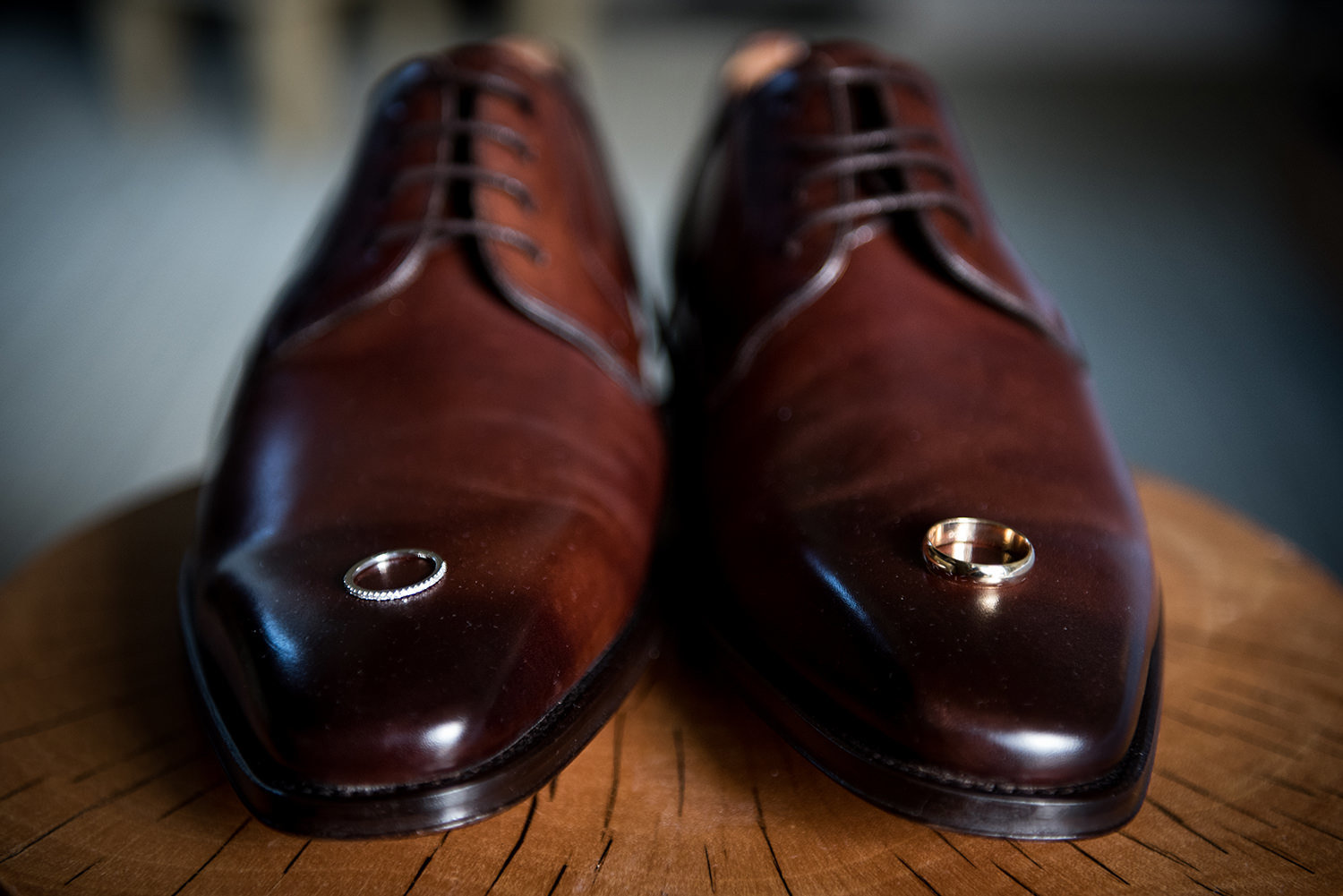 grooms shoes with rings
