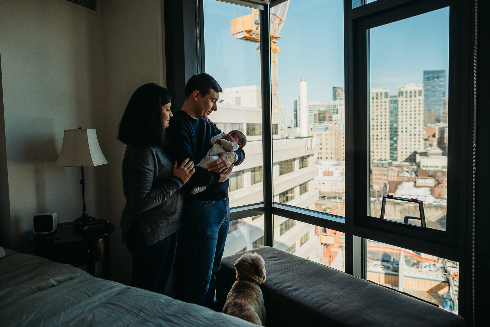 couple and dog with newborn look out over boston ma