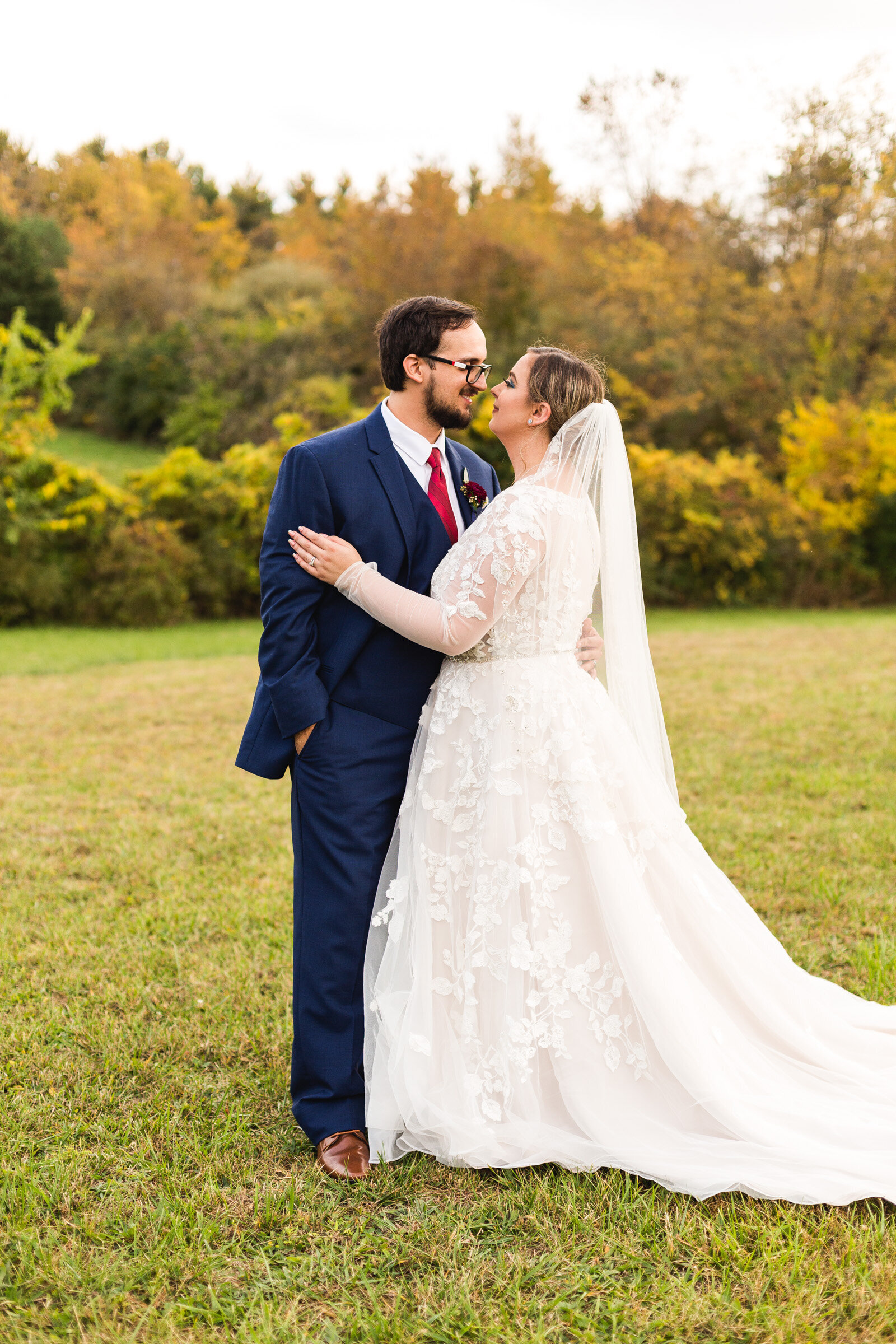 bride and groom candid moment at fall wedding ohio