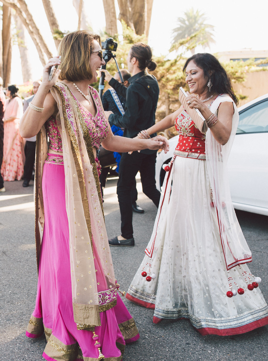 Bharat parade at Indian and Christian blended wedding ceremony at Butterfly Lane Estate in Montecito
