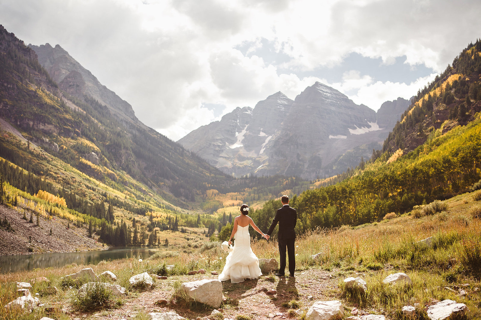 Couple portrait at their Maroon Bells Aspen CO Wedding