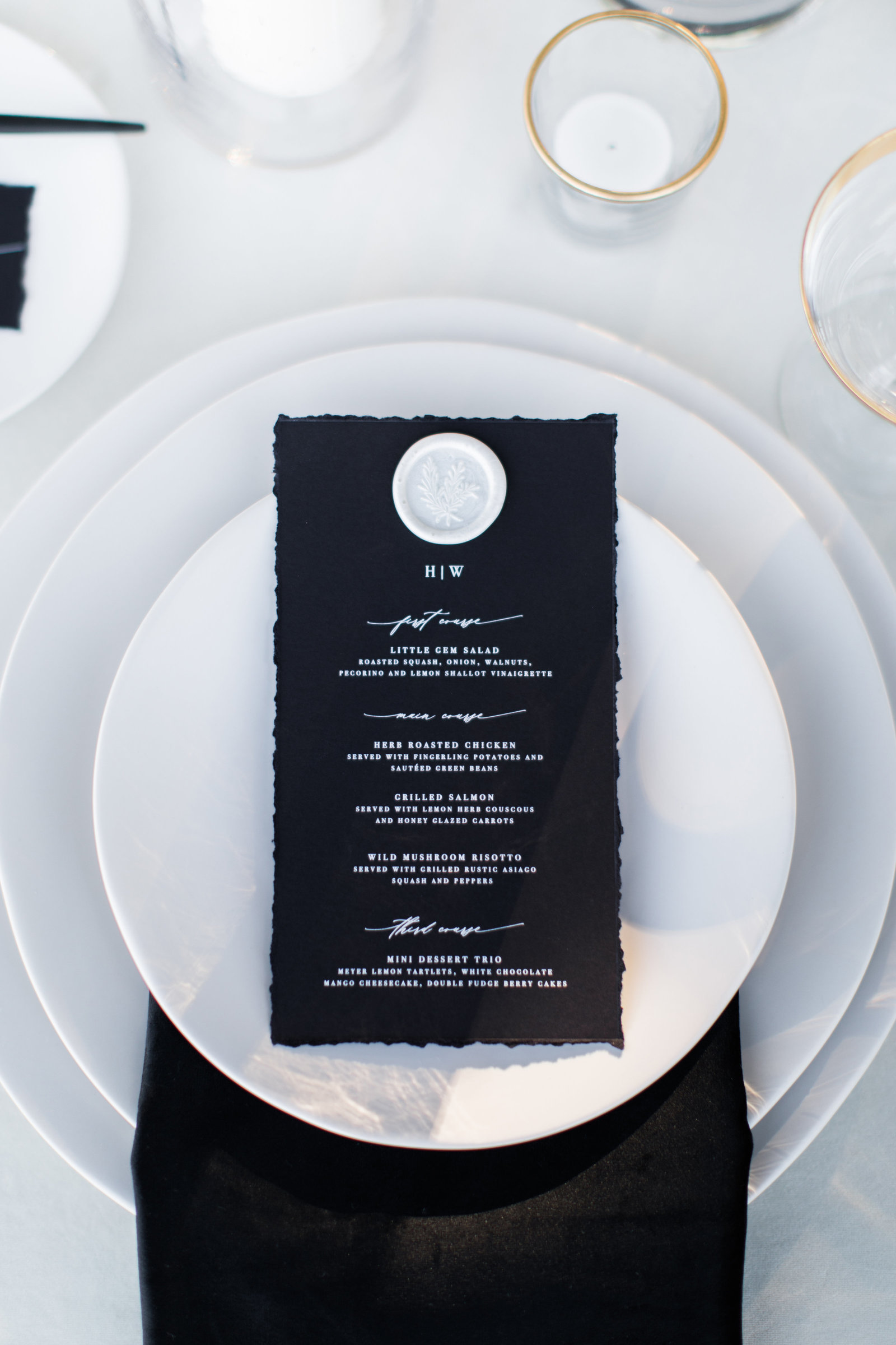 wedding menu set on some plates