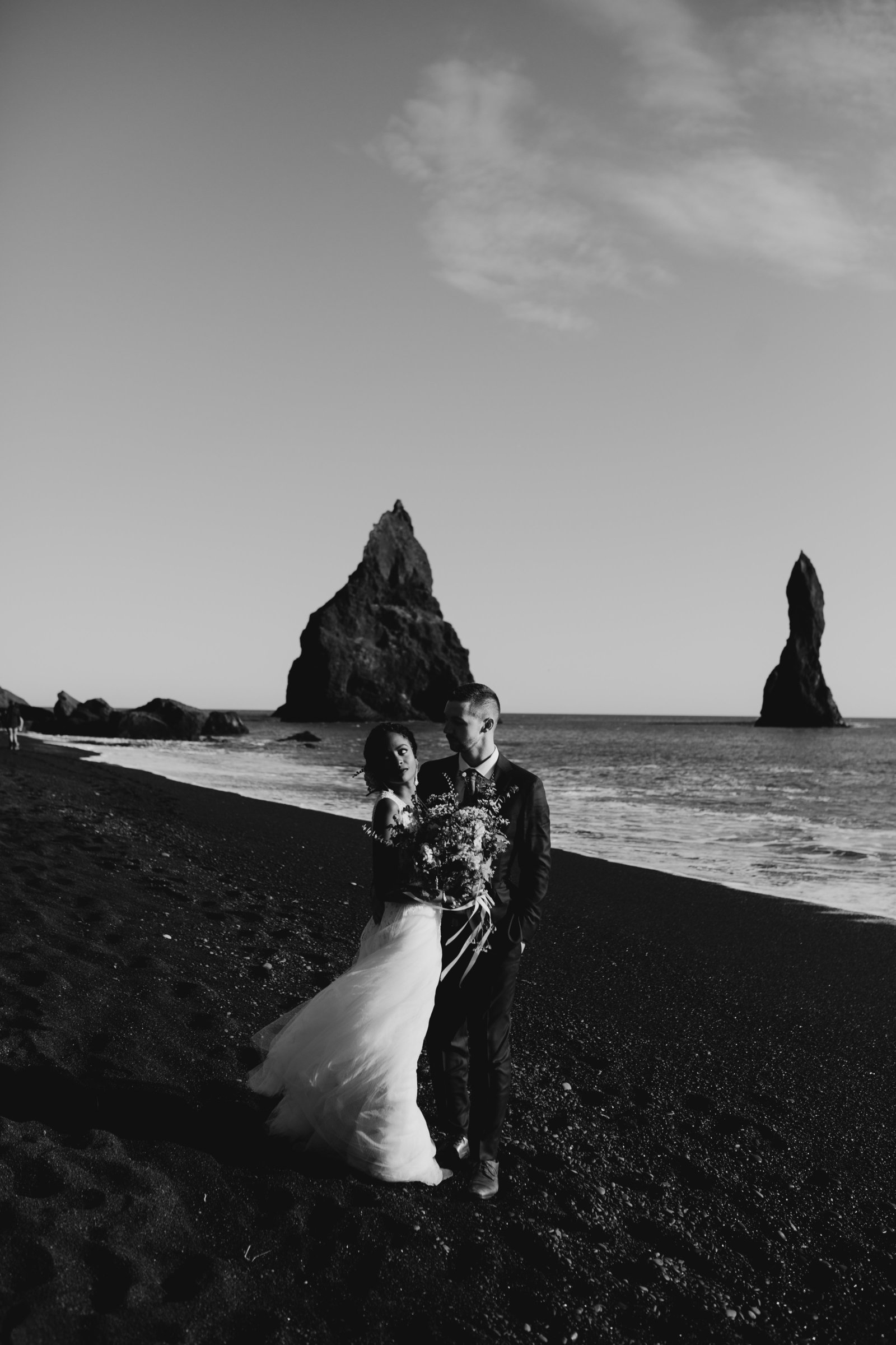 dramatic moody romantic iceland wedding black sand beach moth and moonlite photography