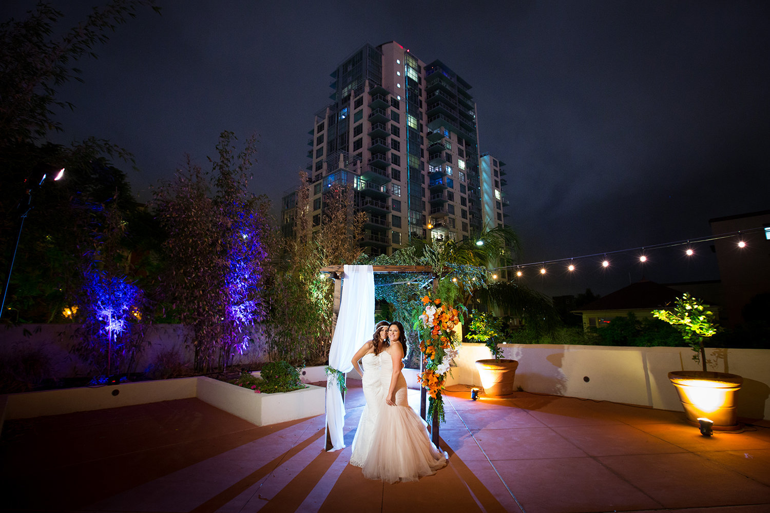 Colorful Night Time Wedding Portrait with light painting